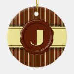 Monograma de la tienda del chocolate - raya del ch ornamento para arbol de navidad