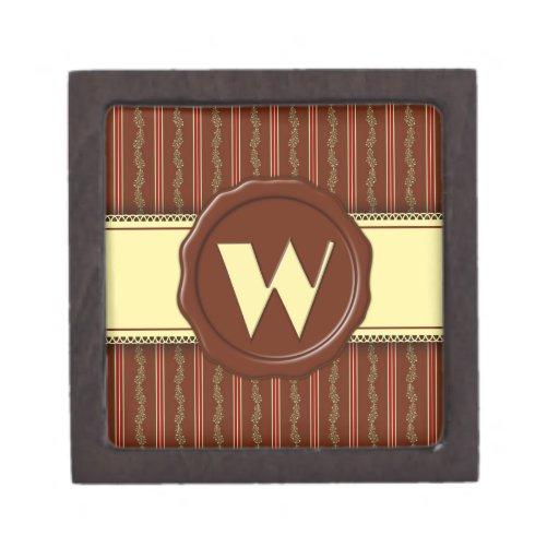 Monograma de la tienda del chocolate - raya floral caja de joyas de calidad