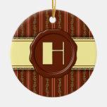 Monograma de la tienda del chocolate - raya floral ornaments para arbol de navidad