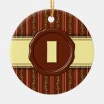 Monograma de la tienda del chocolate - raya floral adorno de navidad