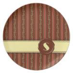 Monograma de la tienda del chocolate - raya floral plato de comida