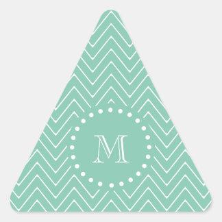 Monograma de la verde menta del modelo el | de calcomanía de triangulo personalizadas