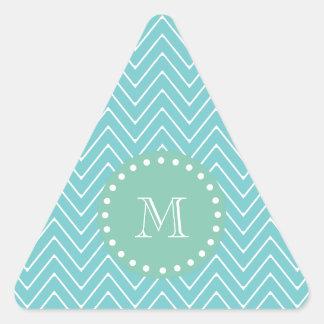 Monograma de la verde menta del modelo el | de calcomanías de triangulos personalizadas