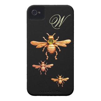 MONOGRAMA DE LAS ABEJAS DE LA MIEL DEL ORO iPhone 4 PROTECTORES