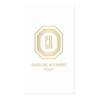 Monograma de las iniciales del art déco del oro tarjetas de visita