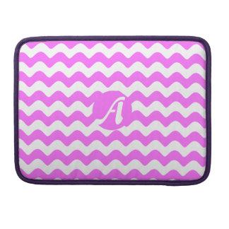 Monograma de las ondas ultra del rosa y del blanco funda para macbooks