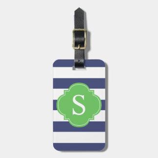 Monograma de las rayas verdes y azules etiqueta de equipaje