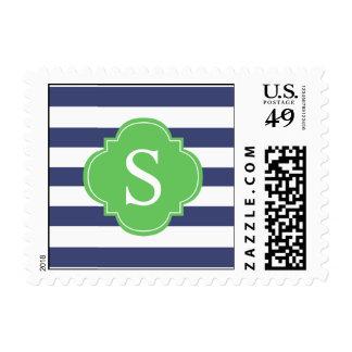 Monograma de las rayas verdes y azules sellos