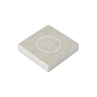 Monograma de lino beige rústico del fondo imán de piedra