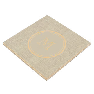 Monograma de lino beige rústico del fondo