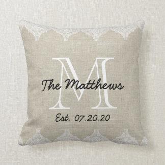 Monograma de lino del personalizado de la mirada d almohadas