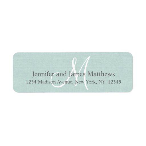 Monograma de lino rústico para los bodas etiquetas de remite