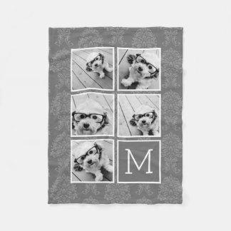 Monograma de lino y gris del collage de la foto de manta de forro polar