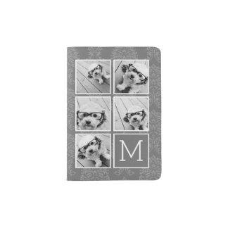 Monograma de lino y gris del collage de la foto de porta pasaporte