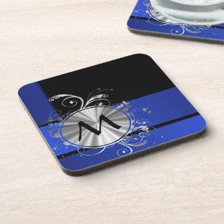 Monograma de los azules marinos y de la plata posavasos de bebidas
