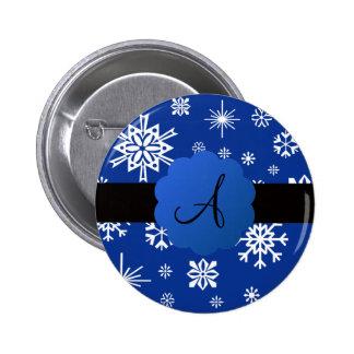 Monograma de los copos de nieve del navidad pin