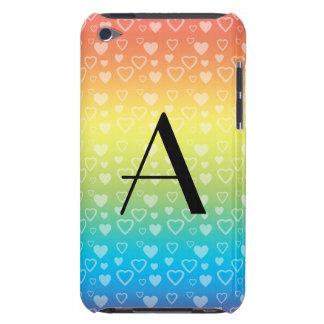 Monograma de los corazones del arco iris iPod Case-Mate funda