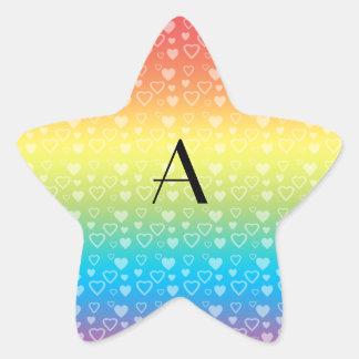 Monograma de los corazones del arco iris pegatina forma de estrella personalizadas