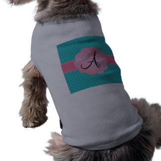 Monograma de los diamantes de la turquesa playera sin mangas para perro