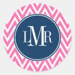 Monograma de los galones del rosa y de los azules  etiquetas redondas