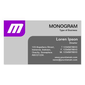 Monograma de los paneles - púrpura y gris plantilla de tarjeta de negocio