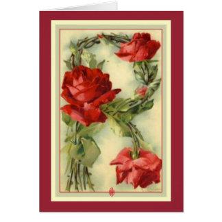 Monograma de los rosas rojos de la inicial R del Tarjeta De Felicitación