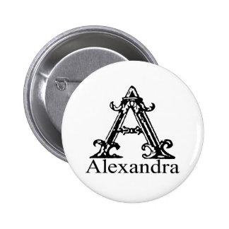 Monograma de lujo: Alexandra Pin Redondo De 2 Pulgadas