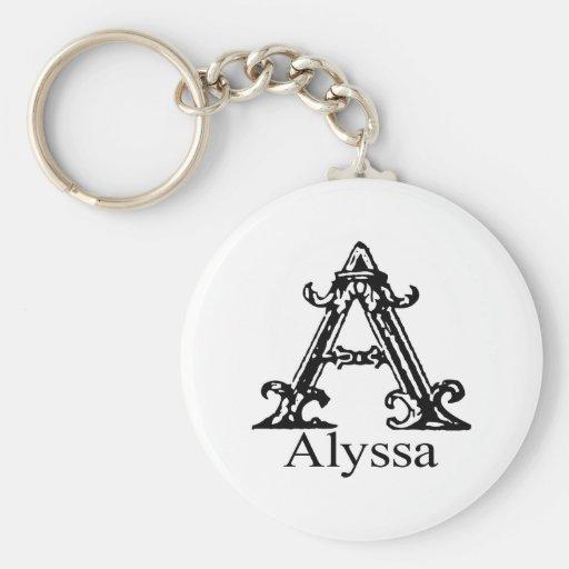 Monograma de lujo: Alyssa Llavero Personalizado