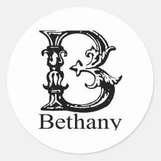 Monograma de lujo: Bethany Pegatina Redonda