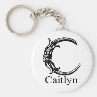 Monograma de lujo: Caitlyn Llavero Redondo Tipo Pin