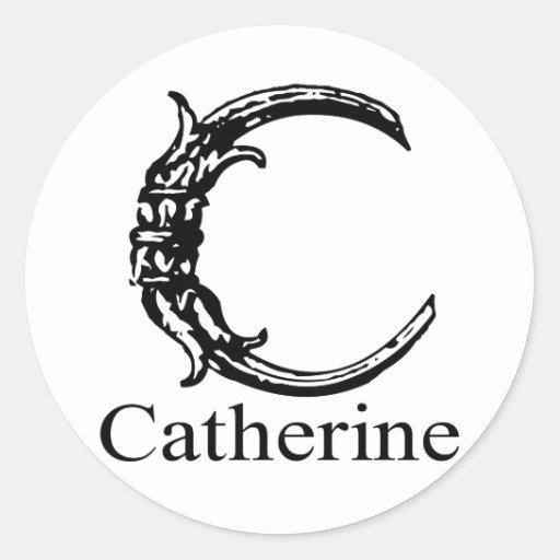 Monograma de lujo: Catherine Pegatina Redonda