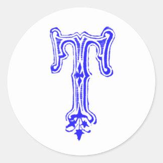 Monograma de lujo de T - azul Etiqueta Redonda
