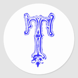 Monograma de lujo de T - azul Pegatina Redonda