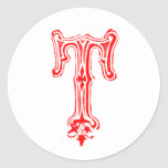 Monograma de lujo de T - rojo Etiquetas Redondas