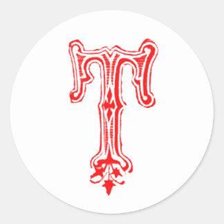 Monograma de lujo de T - rojo Pegatina Redonda