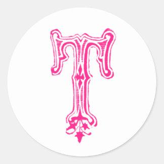 Monograma de lujo de T - rosa Pegatina Redonda