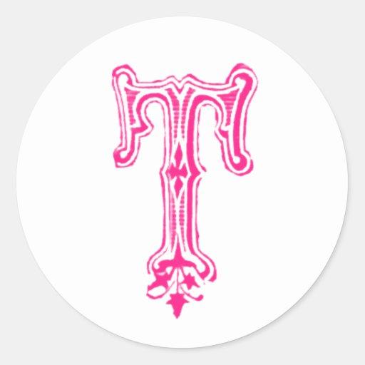 Monograma de lujo de T - rosa Pegatinas Redondas