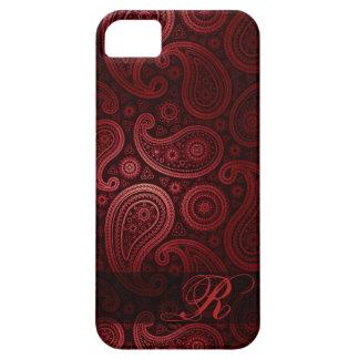 Monograma de lujo el | Borgoña de Paisley iPhone 5 Case-Mate Protector