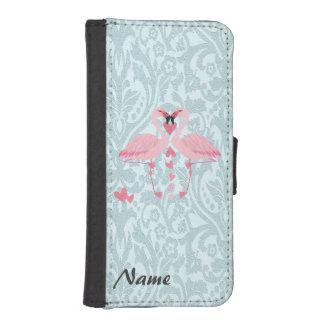 Monograma de lujo elegante romántico del damasco funda tipo cartera para iPhone 5