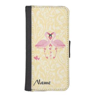 Monograma de lujo elegante romántico del damasco funda cartera para teléfono
