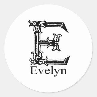 Monograma de lujo: Evelyn Pegatina Redonda