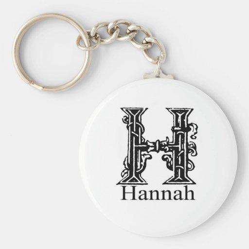 Monograma de lujo: Hannah Llavero Redondo Tipo Pin