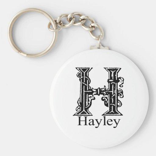 Monograma de lujo: Hayley Llavero Redondo Tipo Pin
