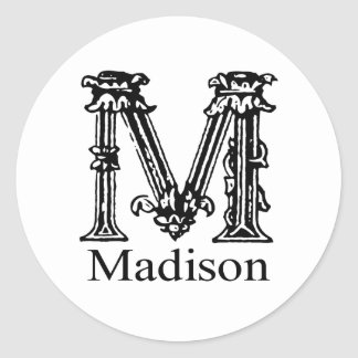 Monograma de lujo: Madison Pegatina Redonda