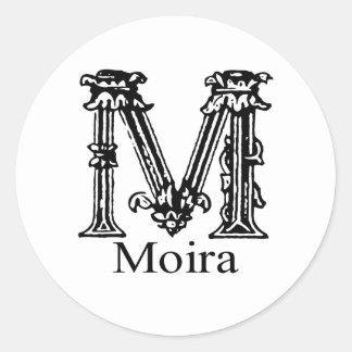 Monograma de lujo Moira Pegatina Redonda