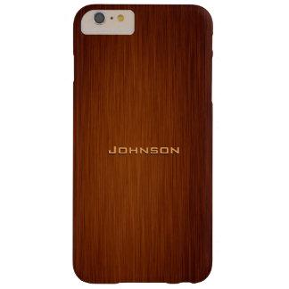 Monograma de madera del grano del palo de rosa funda de iPhone 6 plus barely there