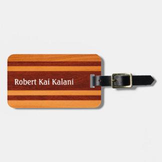 Monograma de madera hawaiano de la tabla hawaiana etiquetas para maletas