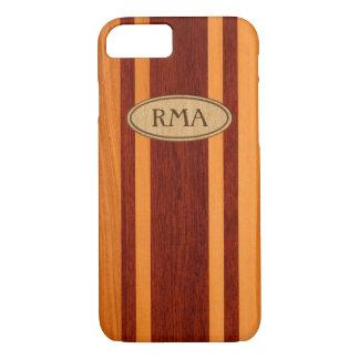 Monograma de madera hawaiano de la tabla hawaiana funda iPhone 7