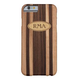 Monograma de madera hawaiano de la tabla hawaiana funda para iPhone 6 barely there