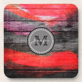 Monograma de madera pintado #9 de la mirada de los posavasos